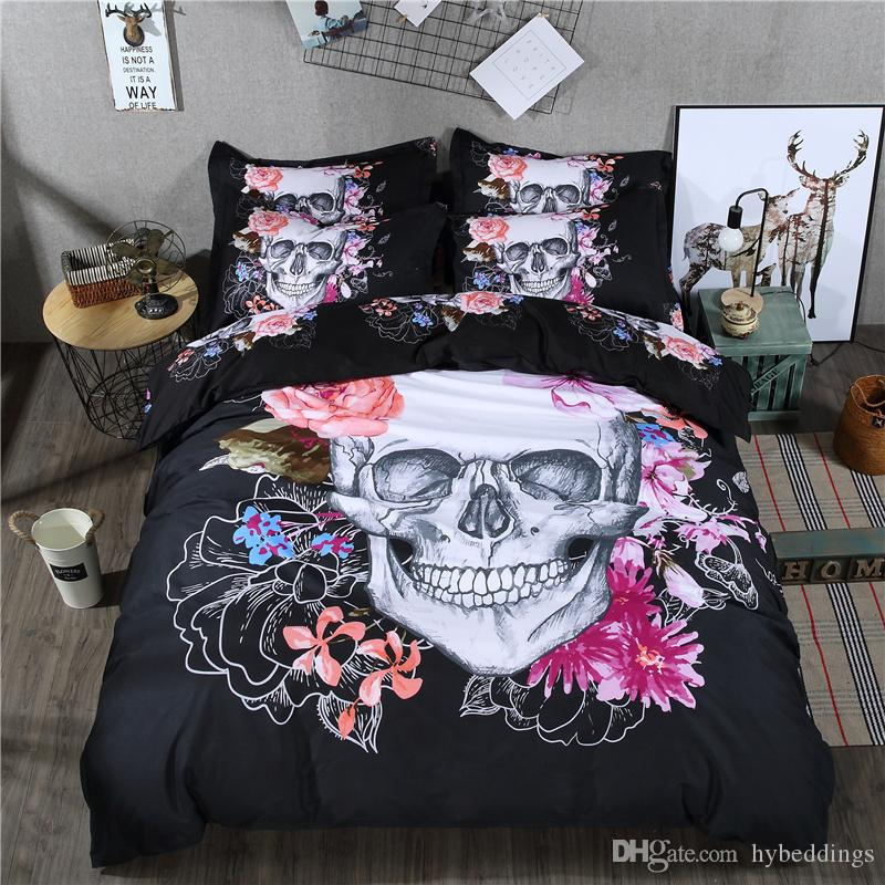 3d Skull Duvet Cover Queen Size Black Bedding Set Floral