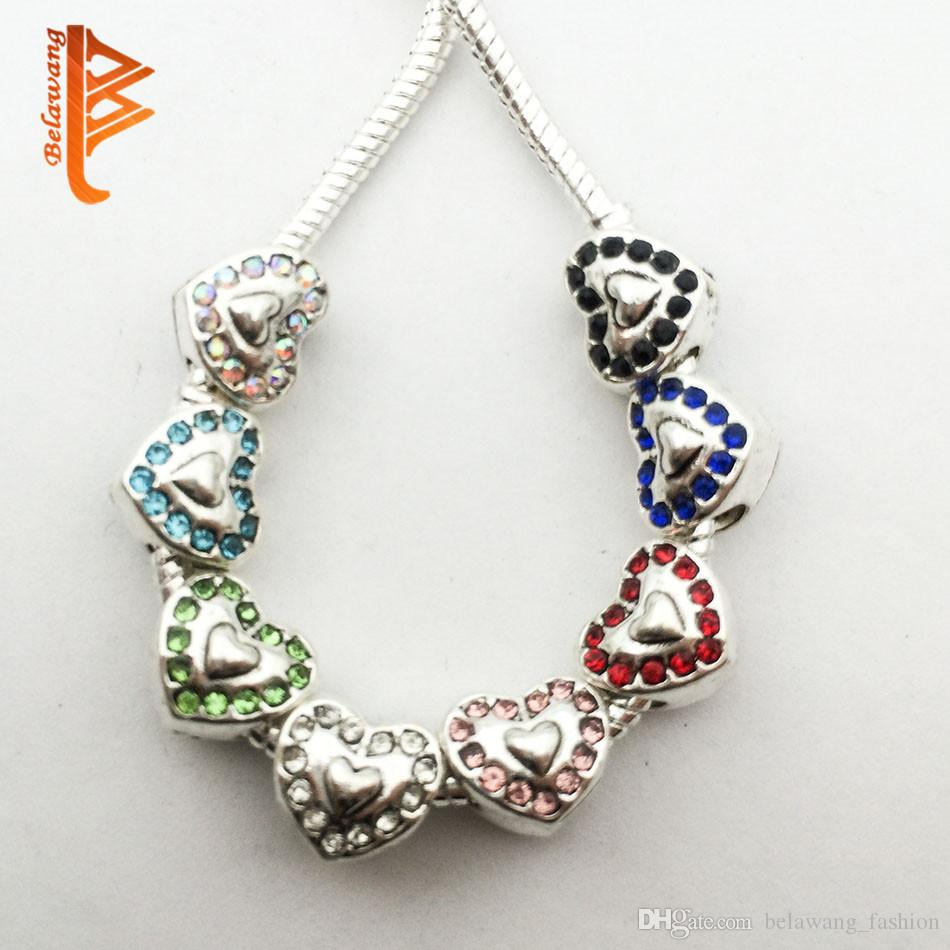 50Pcs Double Heart Tibetan Silver Bead Charms Pendants fit