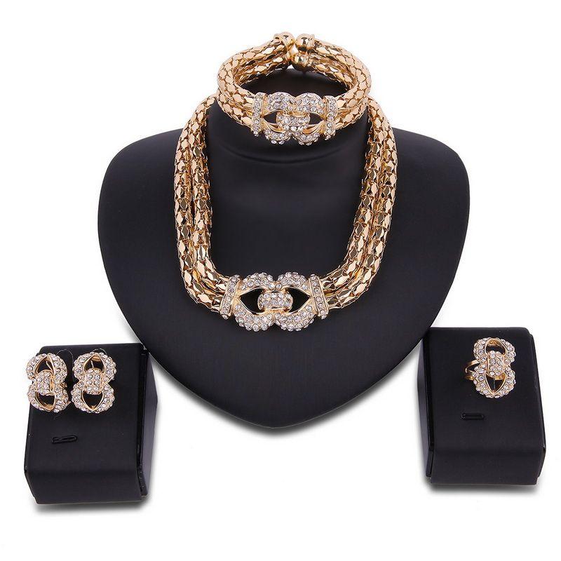 Femmes 18 k plaqué or bijoux africains ensemble pour les filles de mariage partie Chunky collier bracelet boucles d'oreilles Dubaï bijoux ensemble