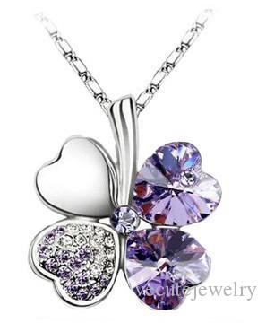 Promotion Price Crystal Necklace made with Swarovski Elements Clover Four Leaf Pendent Necklace Rhinestone Pendent Necklace for Women