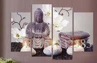 Unframed 4 Piece Wall Canvas Pictures For Living Room Canvas Art Modern Printed Buddha Painting Picture Decoracion Buddha Paintings Color Mu
