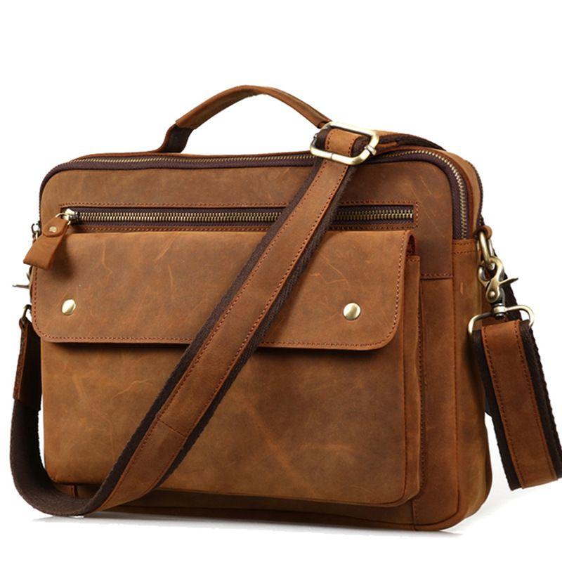 26bb9ee19e19 Fashion Vintage Genuine Crazy Horse Leather Men Business Leisure Messenger  Bag Retro Style Shoulder Bag Handbag Briefcase Bag For Men Hobo Handbags  Luxury ...