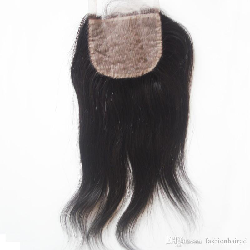 3 Way Part Silk Lace Closure Hidden Knots Straight Unprocessed Brazilian Peruvian Malaysian Indian Virgin Human Hair Silk Base Closure 4*4