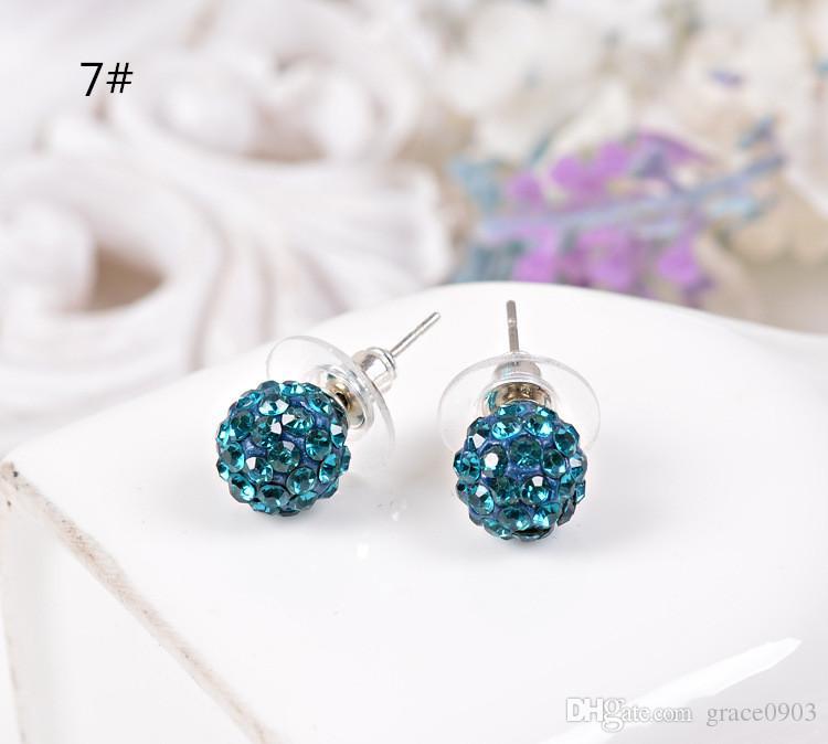 New Arrived New Diameter 10MM Disco Ball Round Beads Czech Crystal Studs Earrings Hip Hop