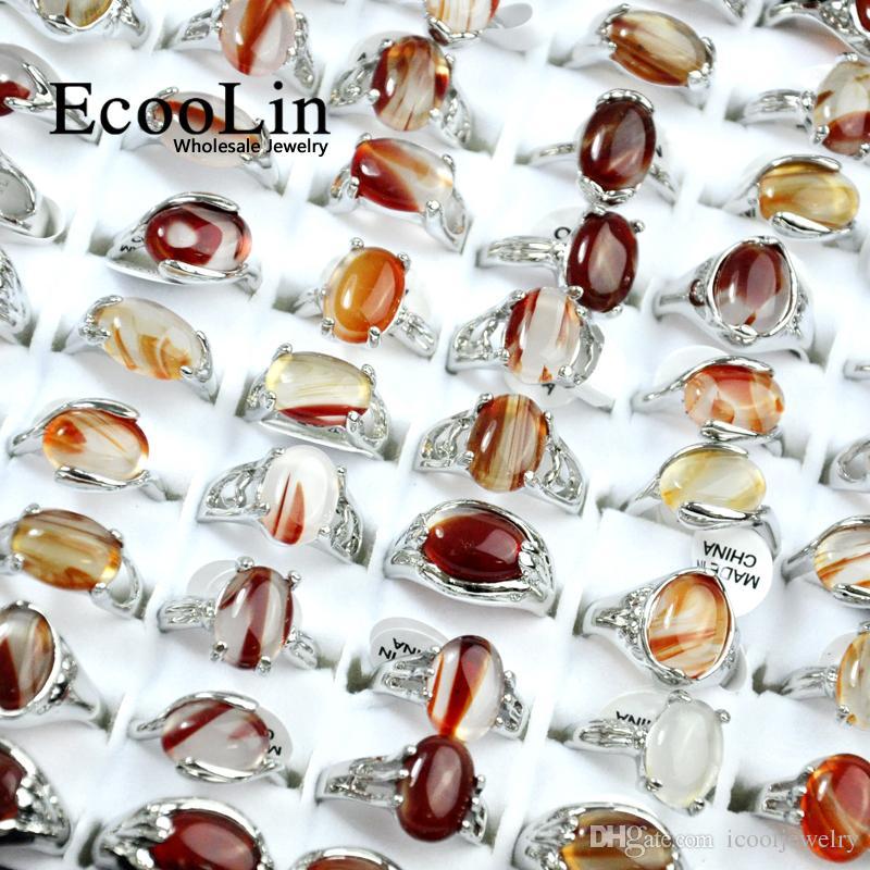 EcooLin Marca de Joyería de Piedra Natural Plateado Plata Anillos de Las Mujeres Para Mujer Moda Venta al por mayor Joyas Paquetes de Grandes Lotes Venta Caliente RL4009