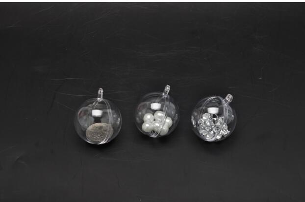 7cm Festive Party Supplies Transparent Ball Hanging Christmas Ball Baubles Clear Plastic Christmas Ornaments for Wedding Party Decoration