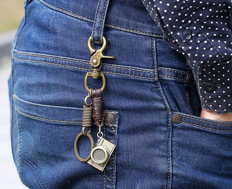 Retro Vintage Camera Model Keyring Keychains - Punk Cool Personalized Key Charm Ring Holder - Leather Jewelry Car Key Chain