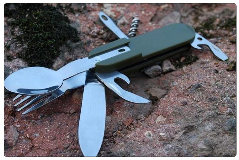 اوتو AT6364 التخييم للطي السكاكين مجموعة سكين شوكة ملعقة إناء زجاجة أداة فتاحة بالجملة