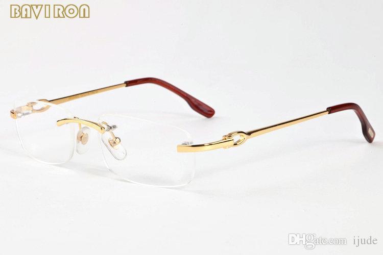 43a661b2c3 With Box Mens Buffalo Horn Glasses Women Frames Gold Silver Alloy Metal  Frame 2017 Brand Designer Rimless Sunglasses Clear Lens Eyewear Designer  Sunglasses ...