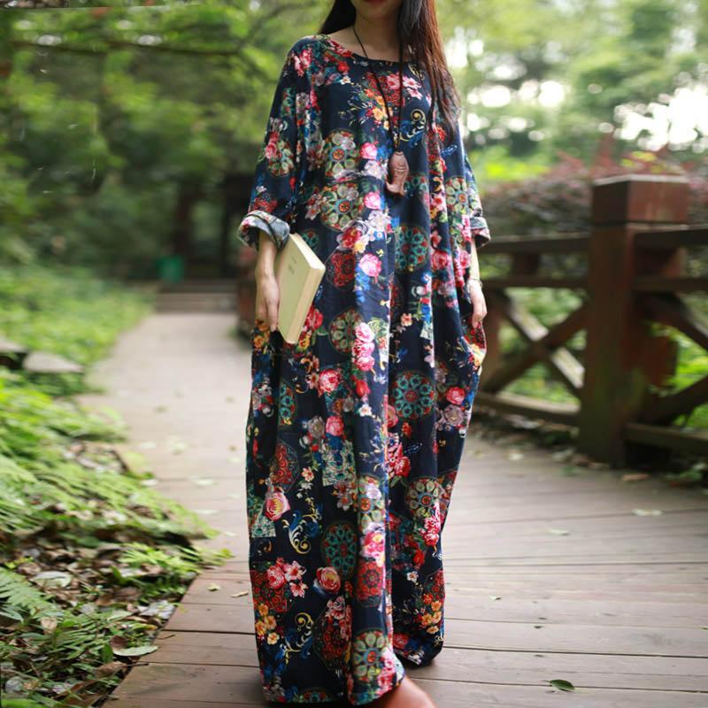 Wholesale- SERENELY 2016 Autumn Dress National Trend Vintage Print ... 4fadf532d435