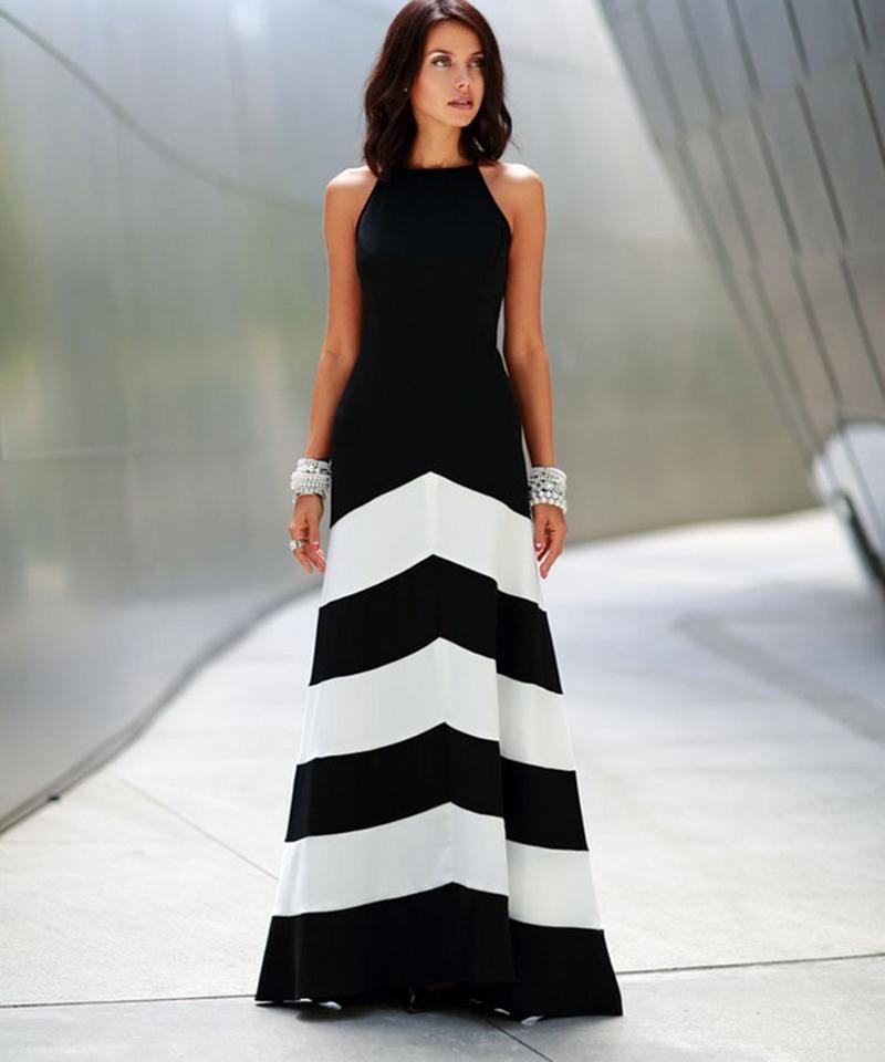 Вечернее полосатое платье
