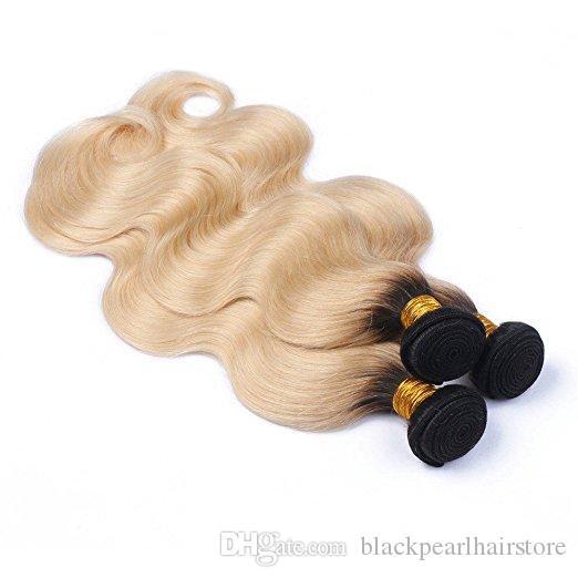 Vücut Dalga Brezilyalı Bakire Örgü Ombre Insan Saç Demetleri # 1b / 613 3budles Siyah Sarışın Insan saçı