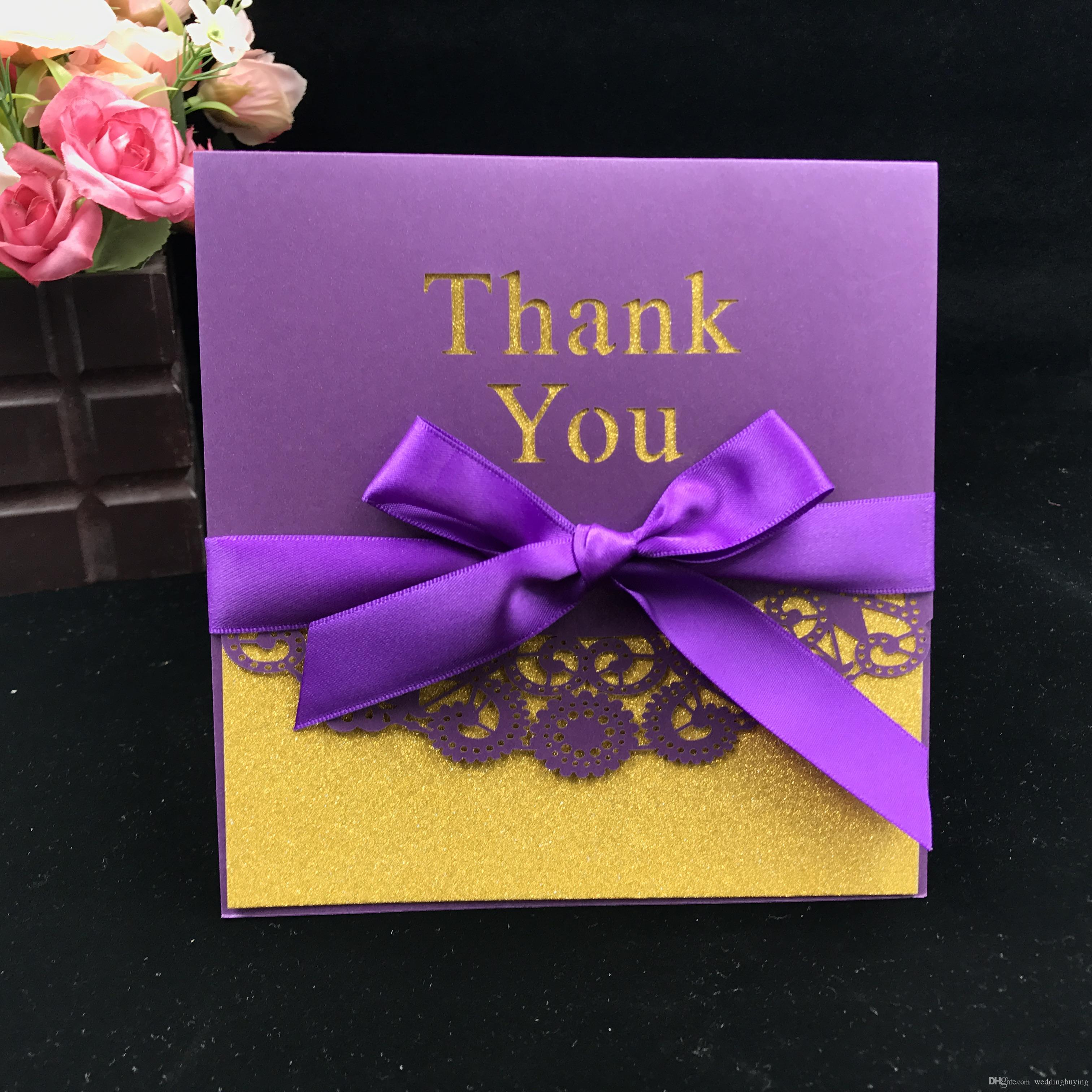 Hot Selling Laser Cut Hollow Out Personized Thank You Cards Modern