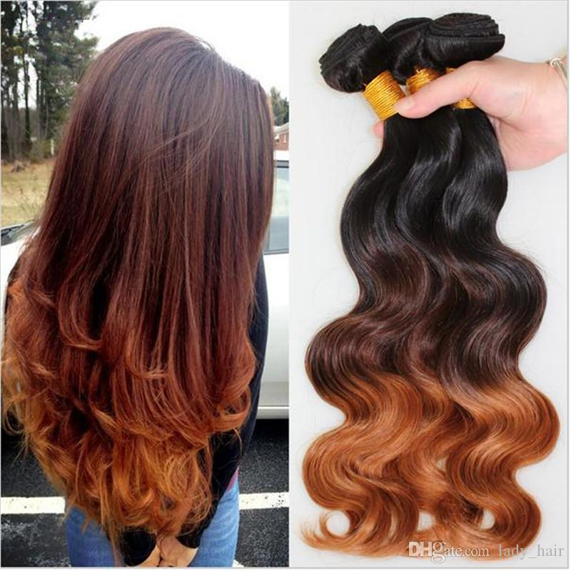 Virgin Malaysian Body Wave Wavy Ombre Hair Wefts #1B/4/30 Dark Roots Three Tone Colored Malaysian Human Hair Weave Bundles 3Pcs Lot
