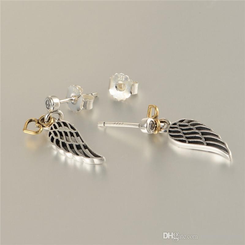 Orecchini Vendita Gioielli Stud S925 Sterling Silver Fits Fitch Style Style Piume Migliore Qualità Aleer125