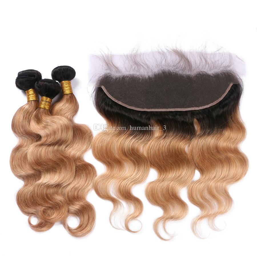 Two Tone Blonde Hair Weaves With Lace Frontal Brazilian Virgin Hair 13*4 Full Lace Frontals With Body Wave Honey Blonde Hair Wefts