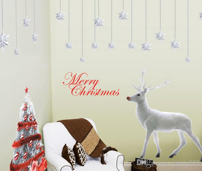 2017 new Christmas tree white elk stickers new year window background layout decorative stickers /DHL