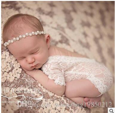 Wholesale 100 days baby lace bowknot suit pearl headbands newborn photography props hooded lace baby clothing pictures 3 months newborn photography props