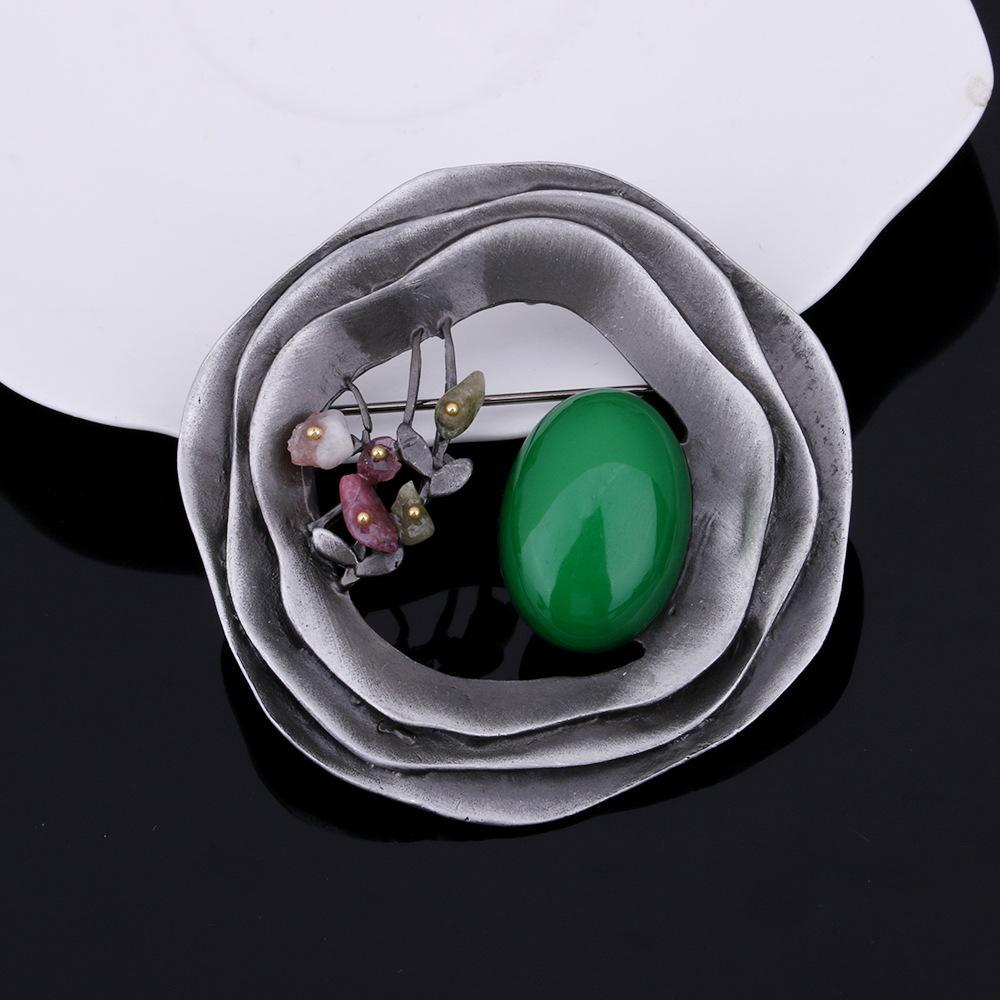 Broschen Für Frauen Geschenk 2017 Multicolor Runde Blume Natur Stein Pins Broschen Mode Exquisite Hohl Geometrische Brosche Pins