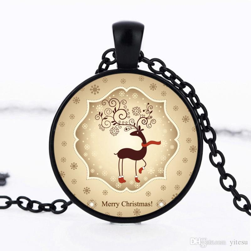 Best Christmas Gifts For Child Santa Claus Art Photo Kids Necklace Jewelry Round Glass Cabochon Pendant Necklace Chain Accessories