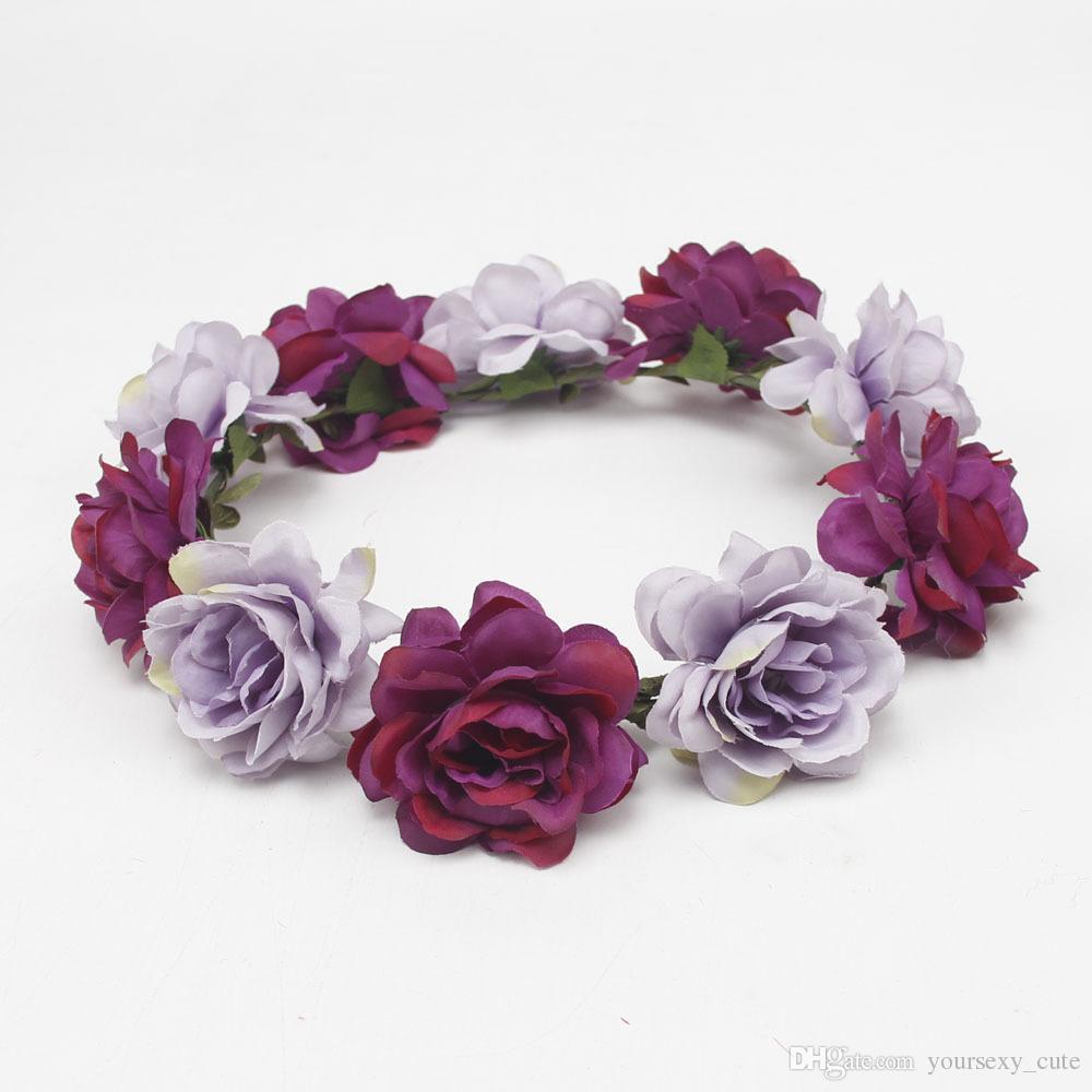 Handcrafted Pastel Flower Crown For Brides Bohemian Flower Headband Wedding Flower Crown Boho Bridal Headpiece Newest Style