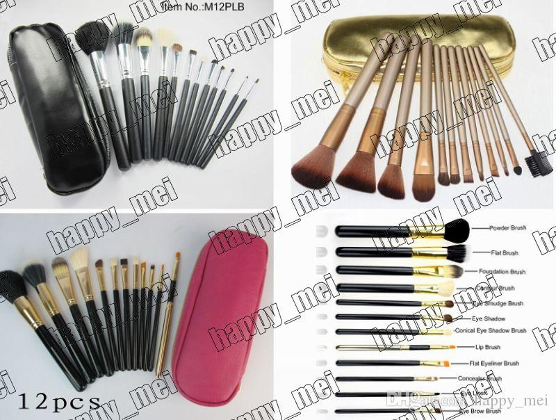 Factory Direct DHL Free Shipping New Makeup Brushes 12 Pieces Brush With Leather Pouch!Pink/Black/Nude Gold