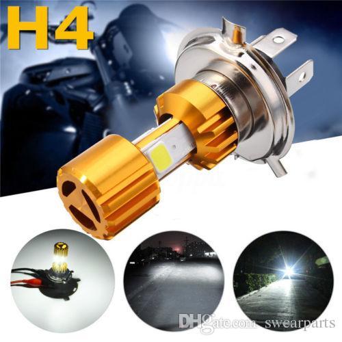 H4 LED COB motocicleta bicicleta Hi / Lo faro bombilla DC 12v 24V 6500K 1500LM 18W