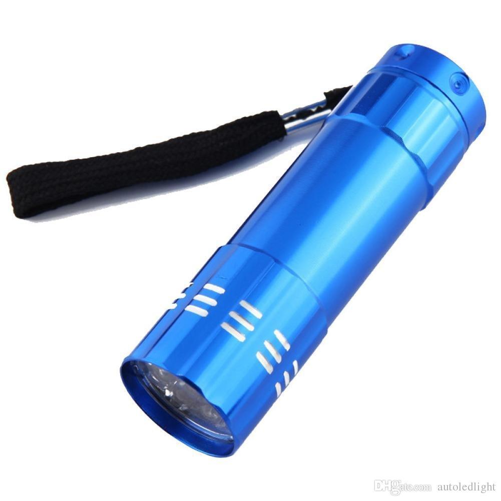 Portable 9 LED Mini LED Flashlights Mini Aluminum UV Ultra Violet LED Black Flashlight Torch Hand Light Lamp