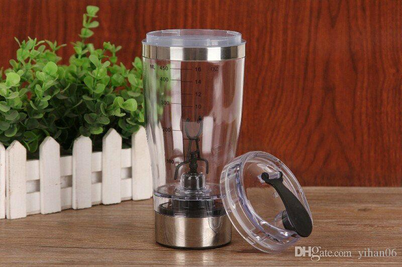 IN STOCK !!! 2017 Newest 450ml Electric Protein Shaker Blender Water Bottle Portable Electric Automatic Movement Mixing Mixer Smart Cup