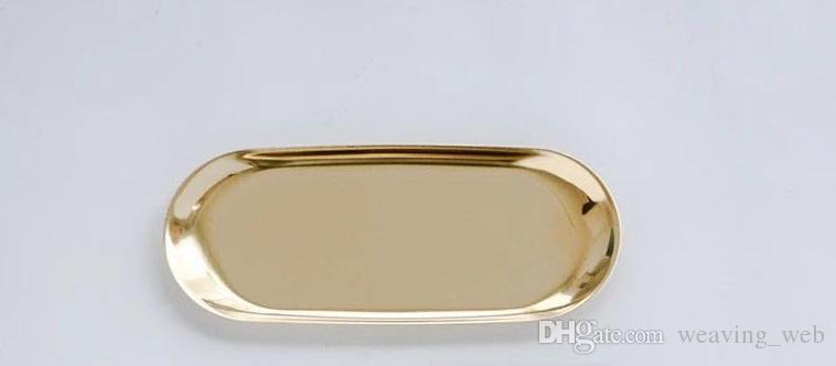 Placa de almacenamiento de joyería de acero inoxidable Collar de bandeja de almacenamiento de anillo 23 cm * 9.5 cm es Accesorios plato de almacenamiento