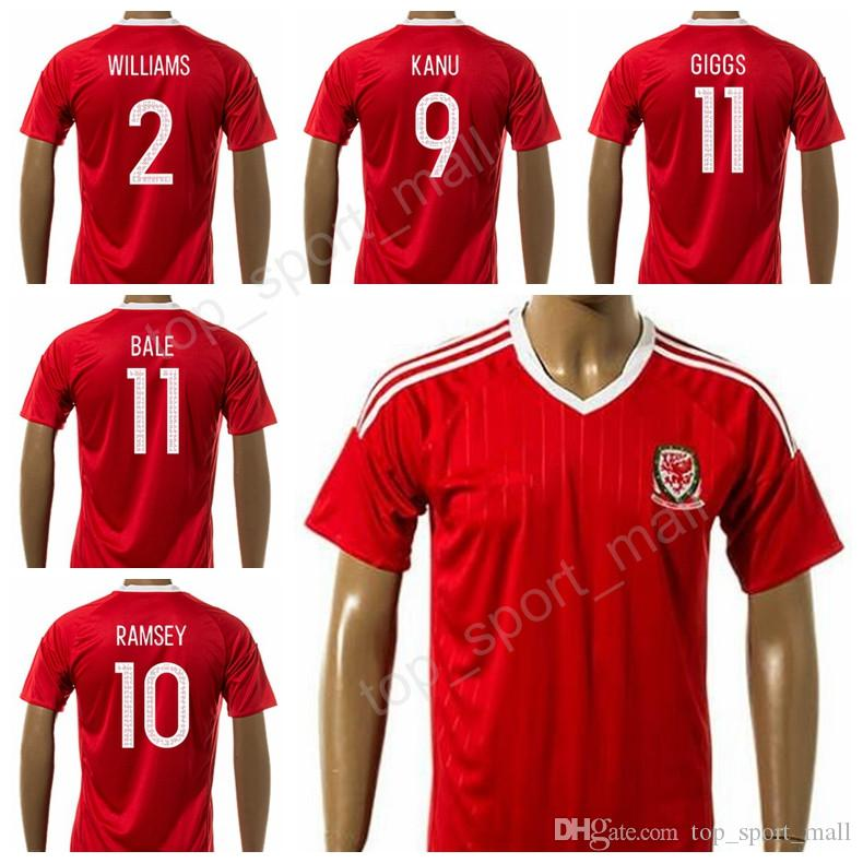 cbd34cbf03a 2019 2018 18 Welsh Soccer Jersey Football Shirt Uniform Kits Foot Tshirt 11  Gareth Bale 11 Ryan Giggs 10 Aaron Ramsey 9 VOKES Custom Thai Quality From  ...