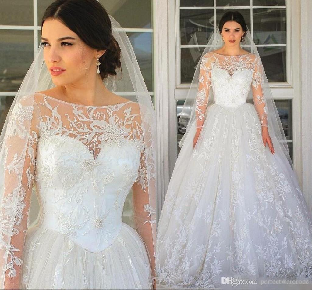 Großhandel Fall Voller Spitze Perlen 2017 Arabische Hochzeitskleider ...