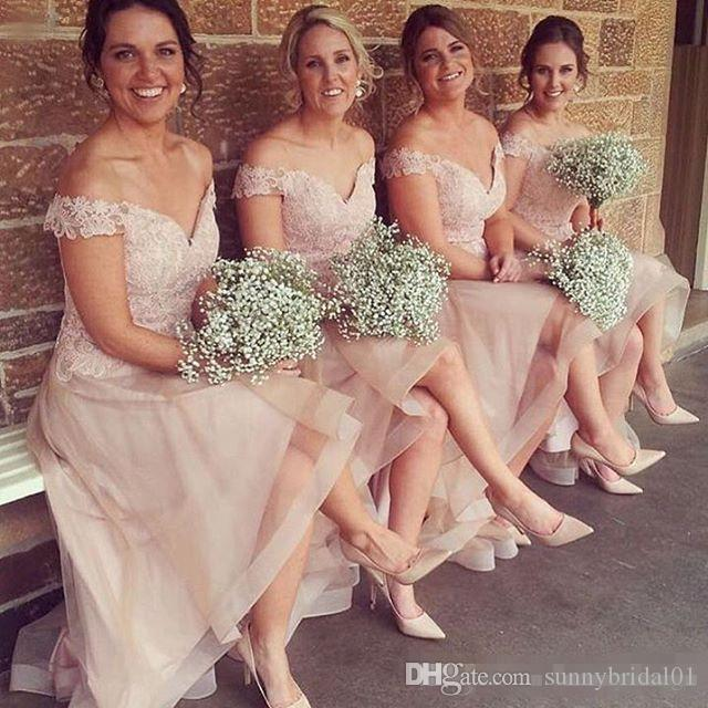 2017 Glamorous Long Bridesmaids Dresses Sexy Off the Shoulder Mermaid Wedding Guest Gowns Formal Blush Pink Prom Party Gowns Custom Made