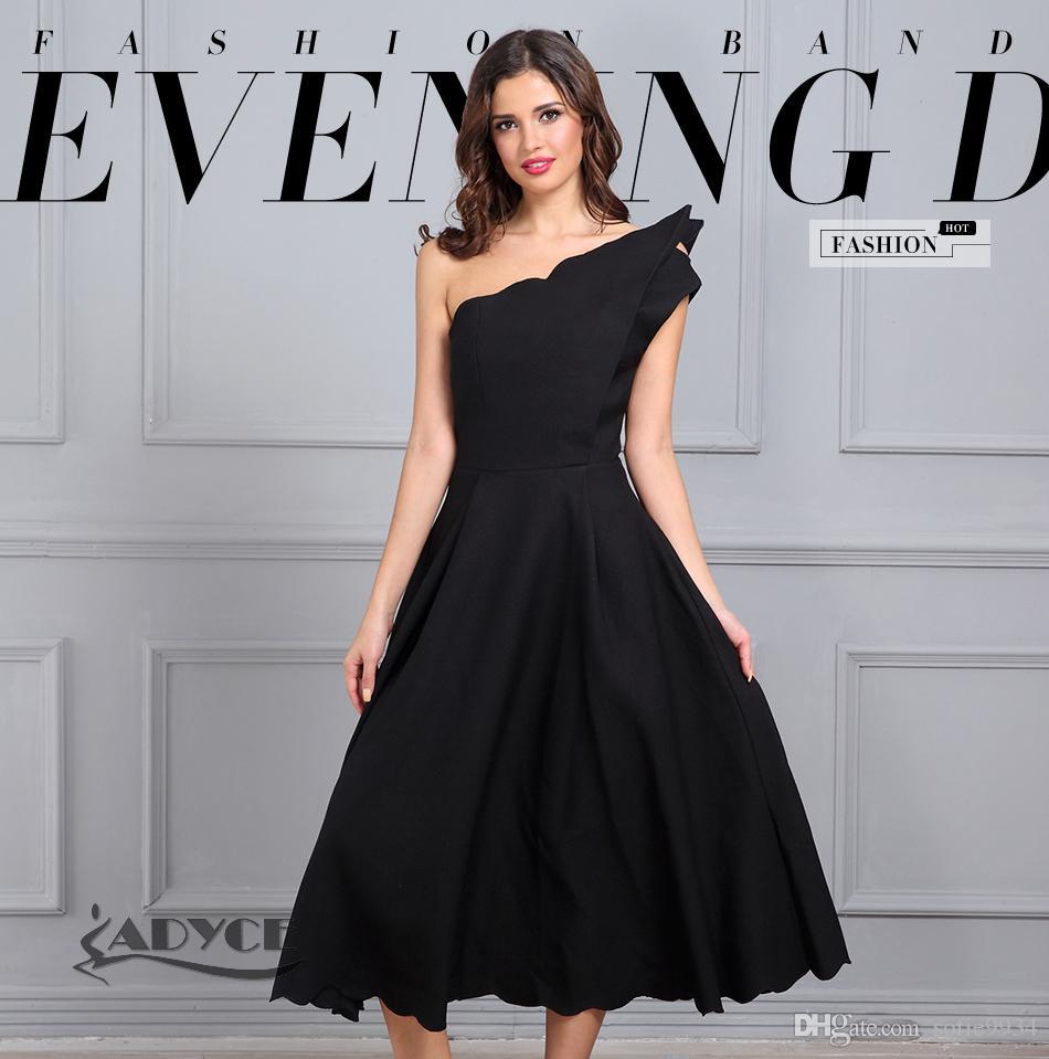 Novas Mulheres Verão Vestido Preto de Um Ombro-Pescoço Assimétrico Vestidos Sem Mangas A-Line vestido de Noite Vestido de Festa
