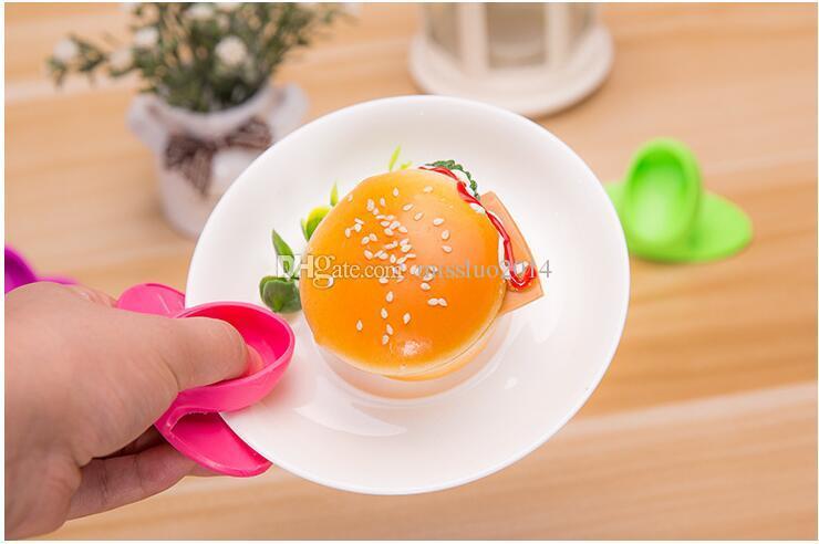Titular Pratos Cozinha Silicone Forno de Calor Duplas dedo de luva Mitt bonito Cooking Micro-derrapante Hot Isolamento Gripper Pot