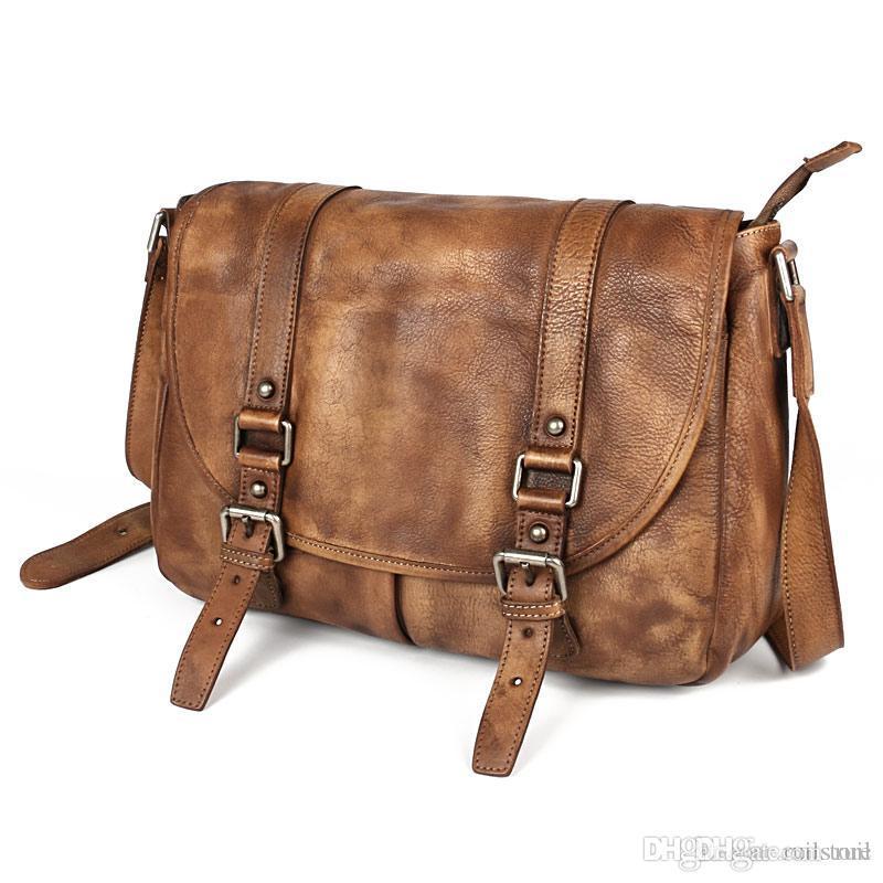 Fashion Retro Genuine Leather Crossbody Bags Vintage Small Soft Messenger  Bag Casual Soft Handle Crossbody Shoulder Man Bag Women Handbags Handbags  ...
