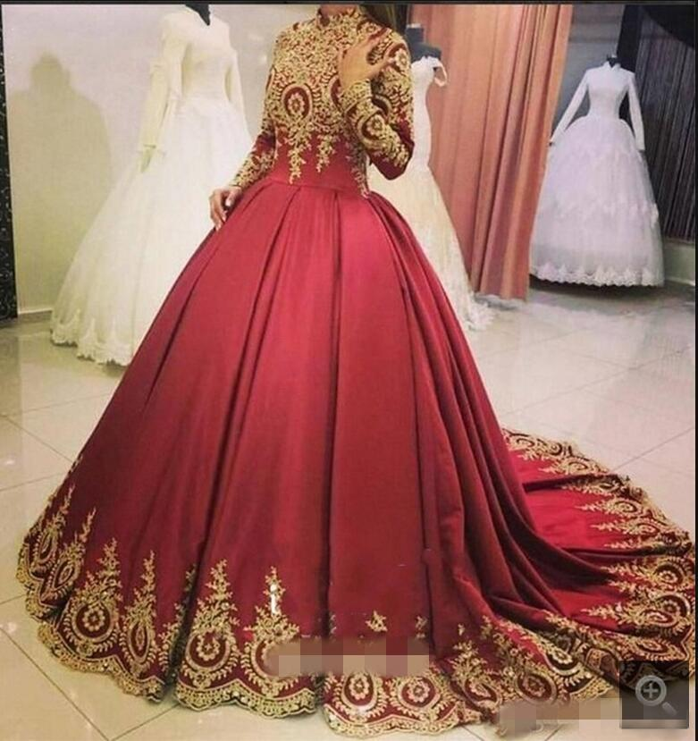 Wine Red Arabic Ball Gown Wedding Dresses Long Sleeves High Neck Gold Lace Appliques Burgundy Dubai Wedding Gowns Custom Made Couture