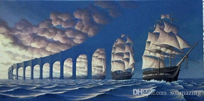 Framed ROB GONSALVES - SUN SETS SAIL,Amazing Seascape SAIL Art High Quality Handmade Oil Painting On Canvas Multi Sizes /Frame Options Sc039