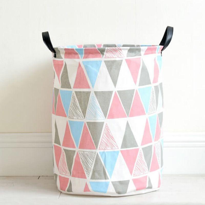 Portable Cotton&Linen Laundry Basket Folding Dirty Clothes Storage Barrel Washing Hamper Kids Toys Sundries Organizer Baskets 35x45cm