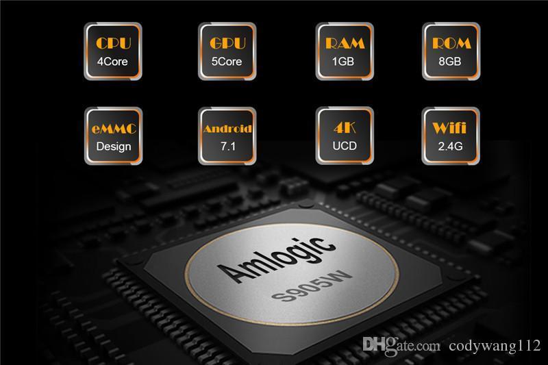 Hot MX2 MXQ PRO Amlogic S905W Quad Core Android 7.1 TV BOX con lettore multimediale 18.1 4K personalizzato