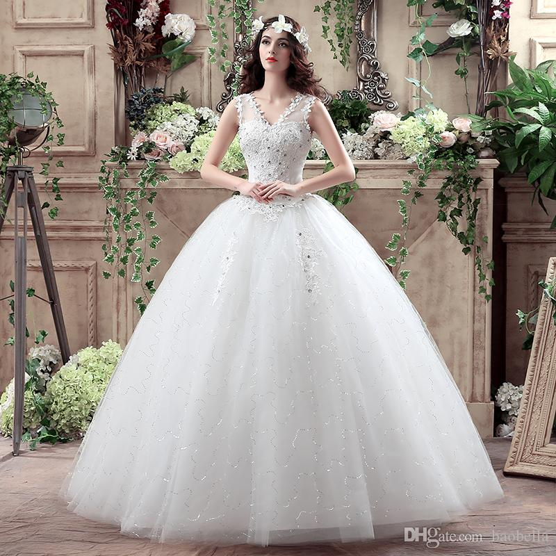 Girl Ball Gown Short Sleeve Beaded Lace V Neck Bridal Dresses New ...
