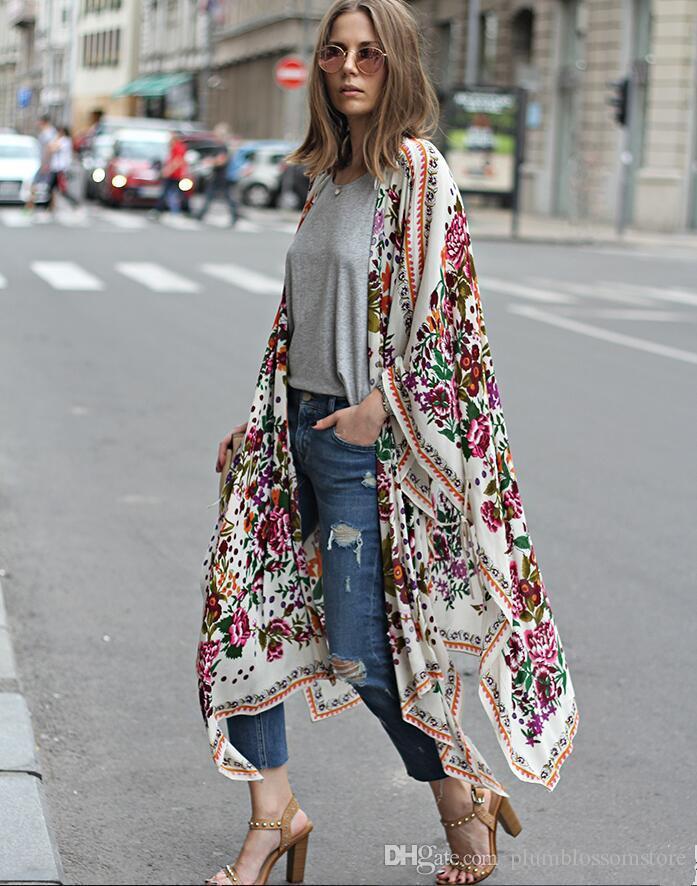 2019 elegant floral printed kimono blouses shirt women. Black Bedroom Furniture Sets. Home Design Ideas