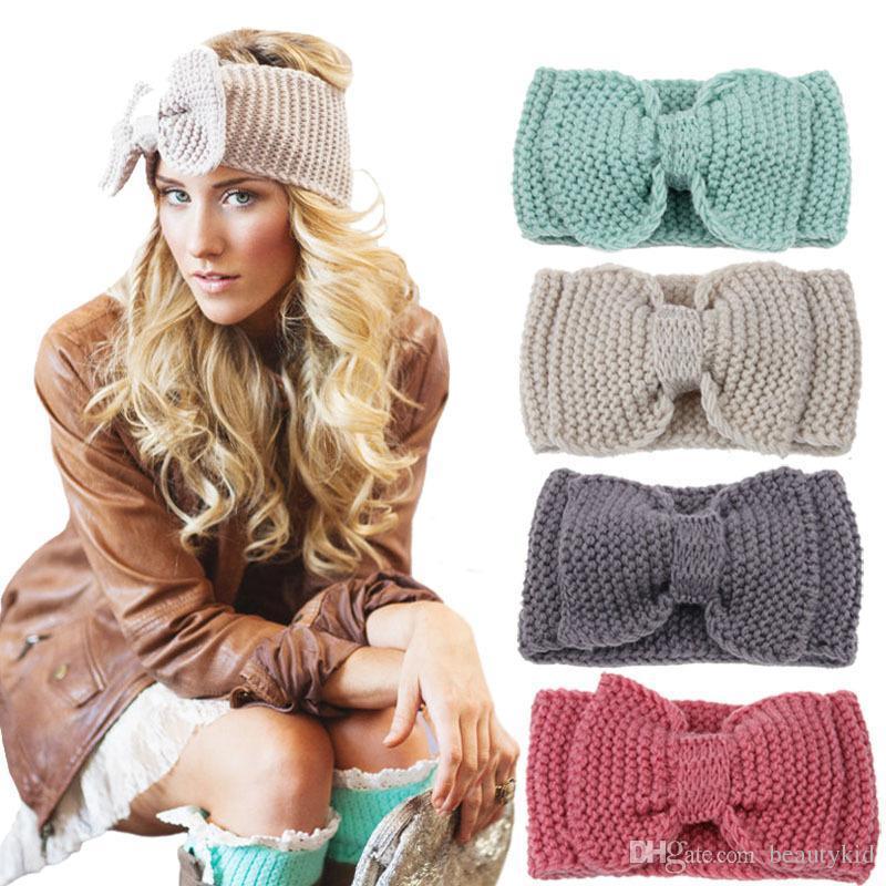Women Lady Fashion Crochet Big Bow Knot Turban Knitted Head Wrap Hairband Winter  Ear Warmer Headband Hair Band DDB003 UK 2019 From Beautykid 9f54f8c7cb1f
