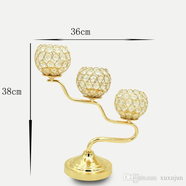 3 Heads Gold / Silver Plated Crystal Table Candelabras Candle Holder Stand Romantic Candlelight Candlestick HolderH/38cm
