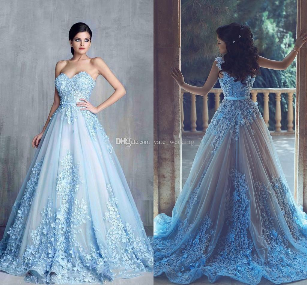 Light sky blue saudi arabic evening dresses sweetheart for Fairytale ball gown wedding dresses