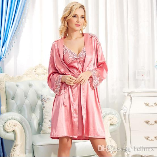9578f48894d 2019 Fashion Smooth Luxe Satin Plus Size Chemise Sexy Silk Nighties And  Robe SET Embroidered Trim Rope Nightgow Bathrobe Lingerie Set From Hclhmx
