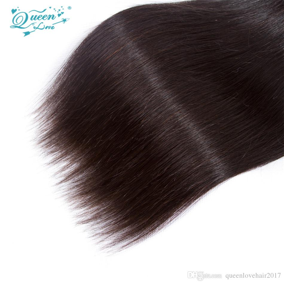 Королева Любовь Волосы Бразильские Прямые Волосы 3 Шт. Естественный Цвет 100% Необработанные Девственные Человеческие Волосы Пучки Ткацкая Машина Двойной Уток