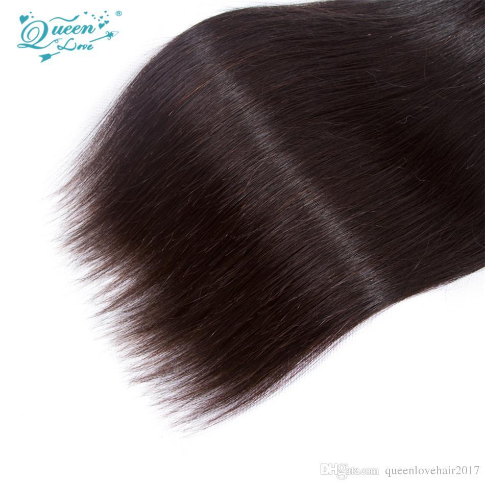 Kraliçe Aşk Saç Brezilyalı Düz Saç 3 Parça Doğal Renk 100% Işlenmemiş Virgin İnsan Saç Paketler Dokuma Makinesi Çift Atkı