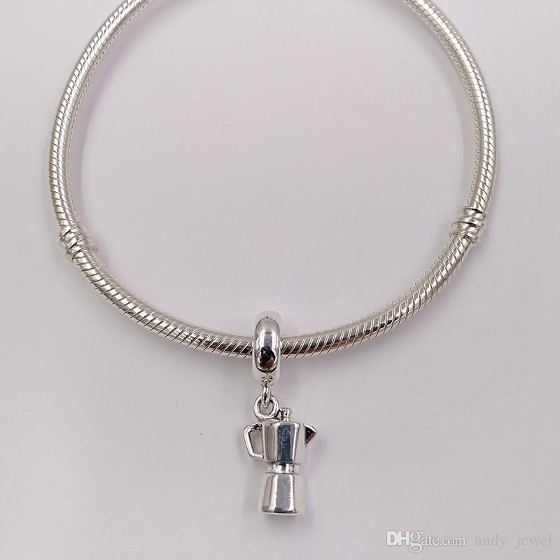 Autentico Argento 925 Perle Espresso Can pendente d'argento fascino adatto della collana dei braccialetti i monili europei di stile Pandora 791.514 penzolare