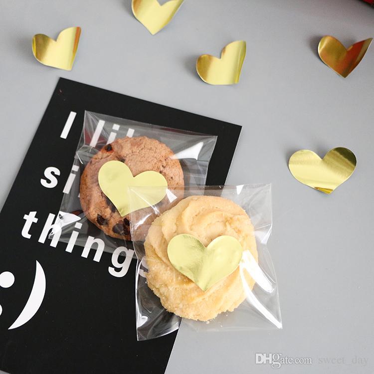 Dekoratives Aufkleberbäckereipaket des goldenen Herzsiegelaufkleber-Plätzchenkeks-Nachtischkastens Aufkleber-Geschenkverpackungs-Dekorationsversorgungen